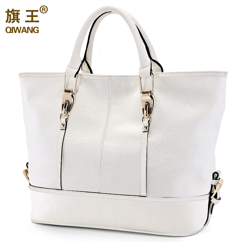 Qiwang Large White Handbag Women Bag Luxury Brand Genuine Leather Tote Bag Designer European Trendy Bag for Women High Quality