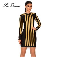 Turtleneck Striped Bandage Knitted Dresses 2017 New Women Summer Autumn Casual Basic Bodycon Dress