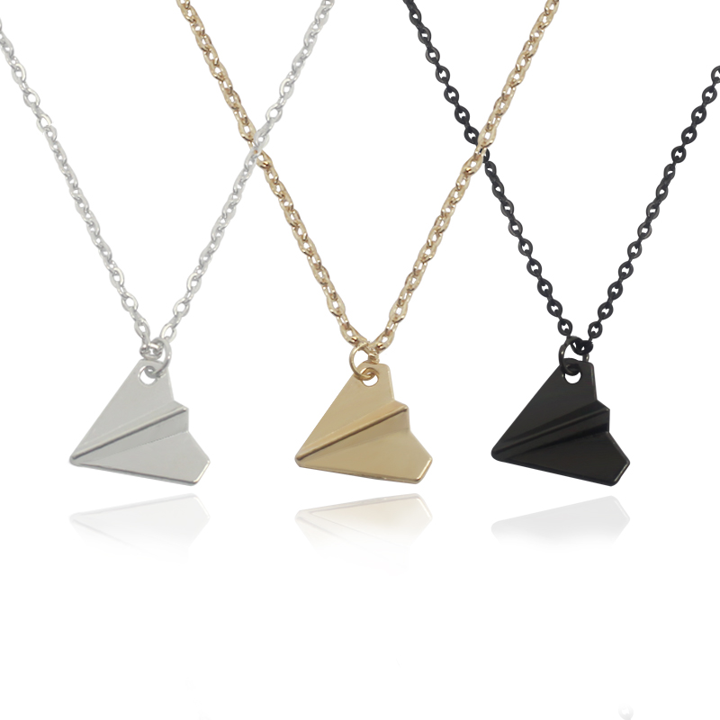 Fashion Gold Black Mini Paper Airplane Pendant Necklace Chasing Dream Teenager Cute Necklace Student Charm Jewelry Gift image