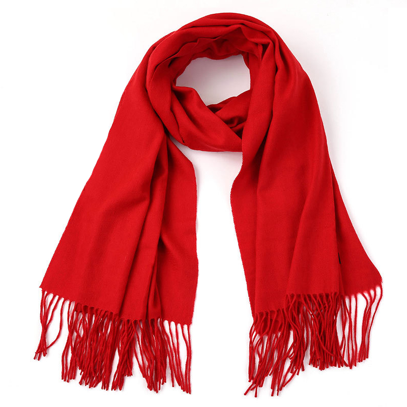 Solid Color Scarf Chinese Red Imitation Cashmere Scarf Party Event Gift Scarf Unisex Scarf