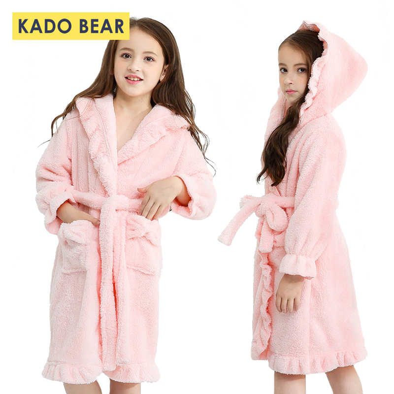 138fe7ea4c Children Flannel Bathrobe Kids Girl Coral Fleece Pajamas Sleepwear Baby  Winter Hooded Towel Robes Toddler Pyjamas
