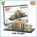 Mr. froger loz juguetes de la puerta de brandenburgo mini arquitectura diseños creativos juguetes para niños bloques de construcción de madera diy