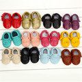 1 Pair Send Genuine Leather First Walkers Soft bottom Baby shoes Toddler Baby moccasins Infant Fringe Bow Shoes Free shipping