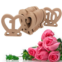 10pcs 1 10 Wooden Heart Shaped Table Numbers DIY Wood Craft Home Wedding Decoration Table Stand Holder