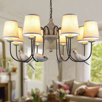 American country living room chandelier tree cloth cover Bird Pendant living room bedroom dining room Chandelier