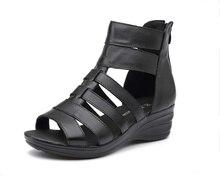 2016 summer Genuine leather sandals wedges women sandals comfortable quinquagenarian high sandals fashion women summer shoes