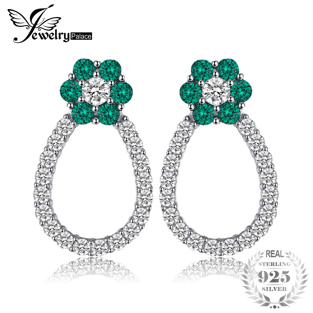 JewelryPalace 1t Flower Shape Created Emerald Stud Earrings For Women 925 Sterling Silver Trend Earrings Party Fine Jewelry pair of vintage rhinestoned openwork flower shape stud earrings for women
