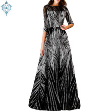 Ameision New Luxury Sequins Evening Dress Banquet Elegant Black Half Sleeved Party Prom Gown Robe De Soiree Reflective