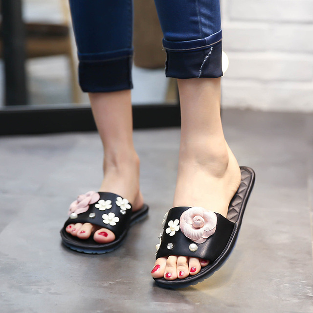 b17b294a5 2018 New Fashion Flowers Slippers Pink Women s Slides Summer Slippers Women