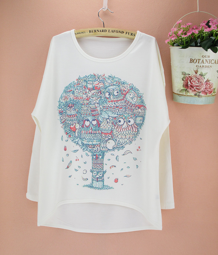 Vintage Novelty Print Women T Shirt Long Batwing Sleeve