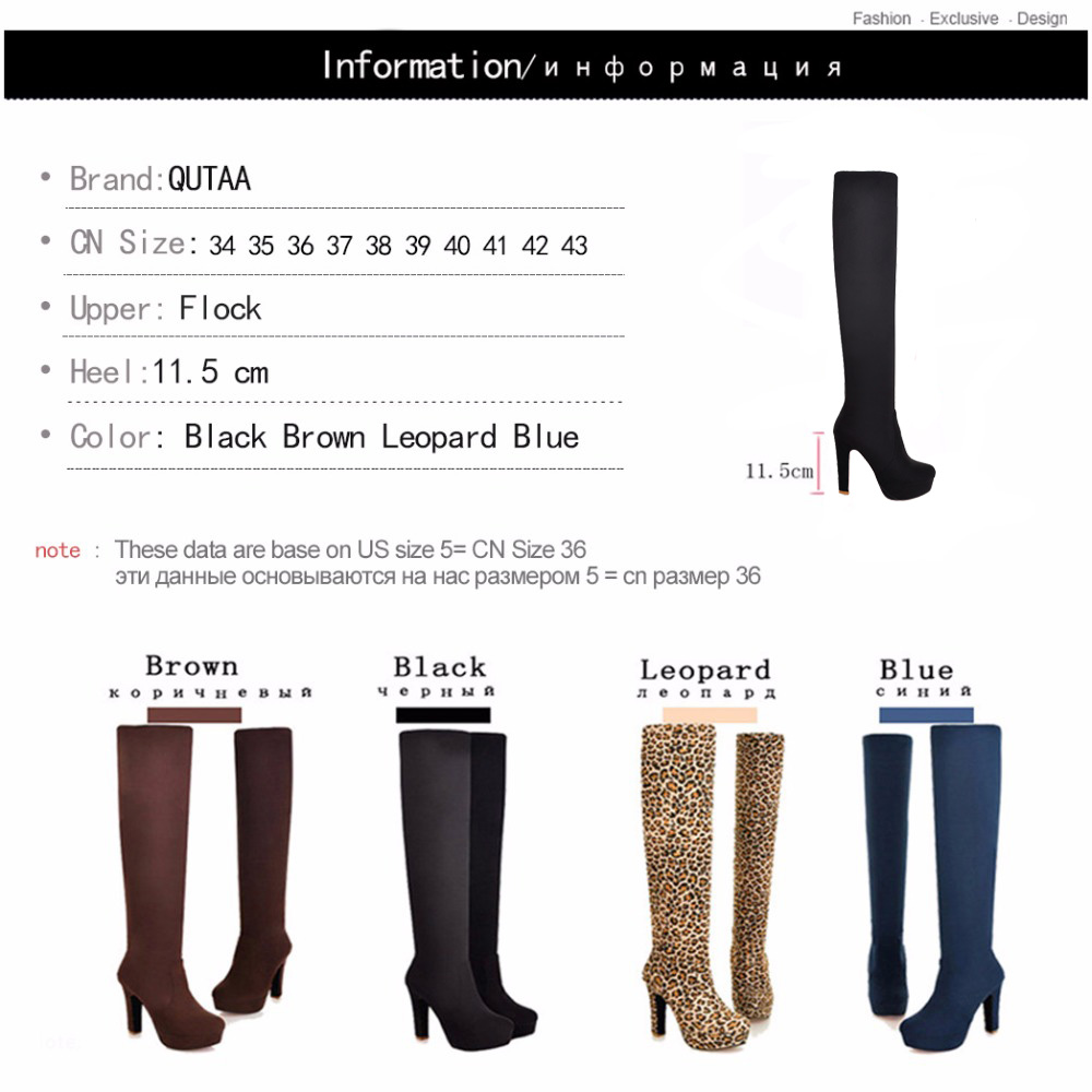 Image 5 - QUTAA 2020 New Women Boots Sexy Fashion Over the Knee Boots Sexy Thin Square Heel Boot Platform Woman Shoes Black size 34 43-in Over-the-Knee Boots from Shoes