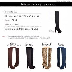 Image 5 - QUTAA 2020 yeni kadın çizmeler seksi moda diz çizmeler üzerinde seksi ince kare topuk çizme platformu kadın ayakkabı siyah boyutu 34 43