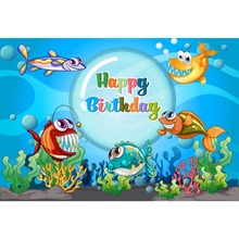 Laeacco Fish Baby Birthday Party Cartoon Sea World Coral Poster Photographic Background Photography Backdrops Photo Studio