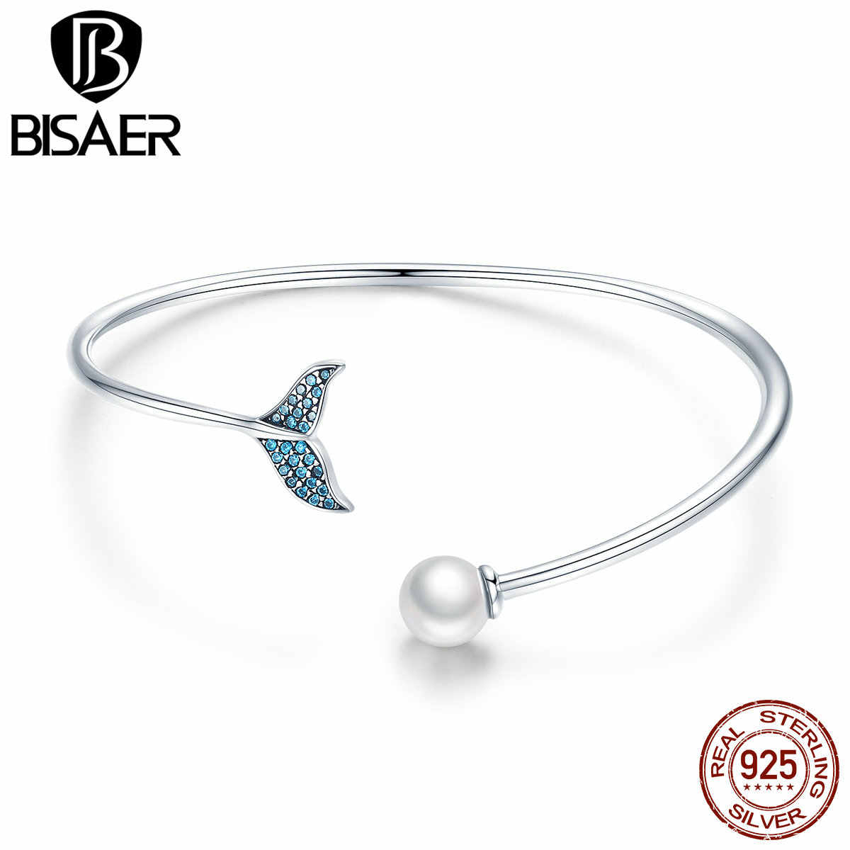 BISAER 925 Sterling Silver Blue CZ Mermaid Fishtail and Pearl Bangle Bracelet for Girl Fashion Jewelry 2019 Mode Gifts GXB123