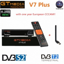 GT Media V7 Plus DVB-S2 DVB-T2 Satellite TV Combo Receiver 1080P Full HD Support H.265+1 year European Spain CCCAM TV Receptor
