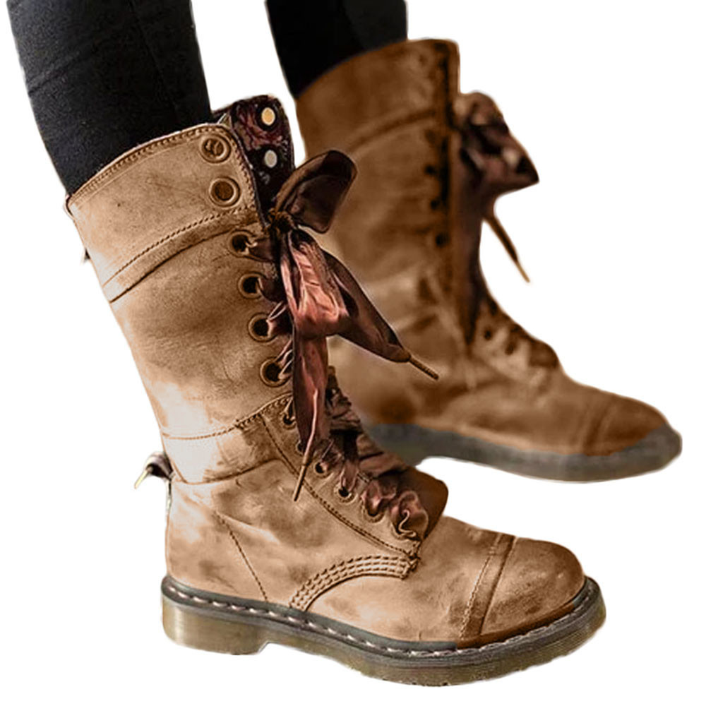 38177272a9a US $11.43 27% OFF|winter boots women Retro Shoes Leather Middle Boot Non  Slip Round Toe Lace Up Martin Boots zapatos drop ship-in Mid-Calf Boots  from ...