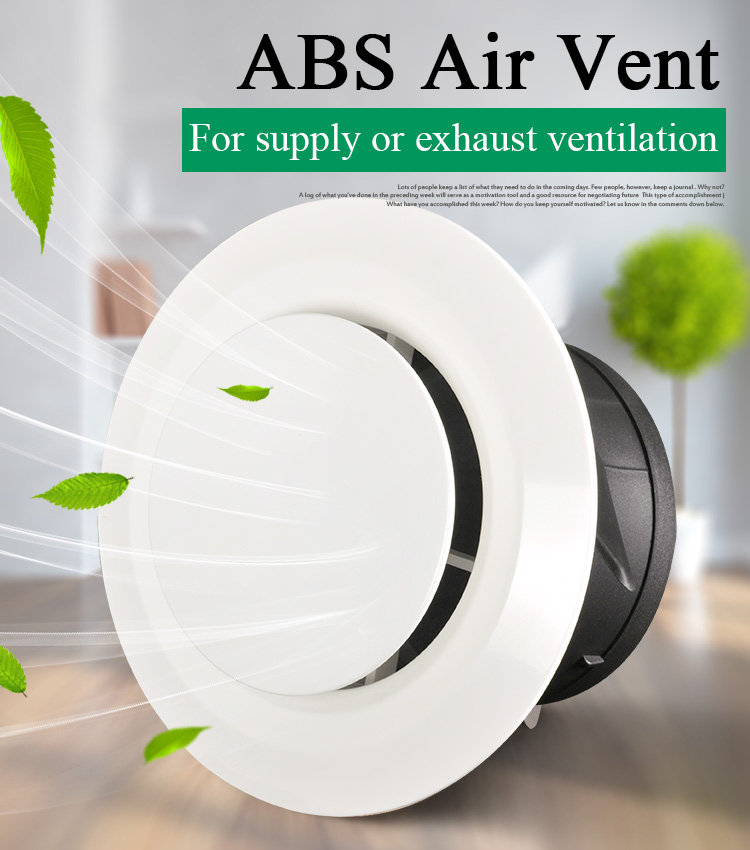 3/4/6 Inch Plastic Air Vent Cover Bathroom Ceiling Wall Supply And Exhaust Ventilation Grille For Round Duct Pipe 75/100/150mm