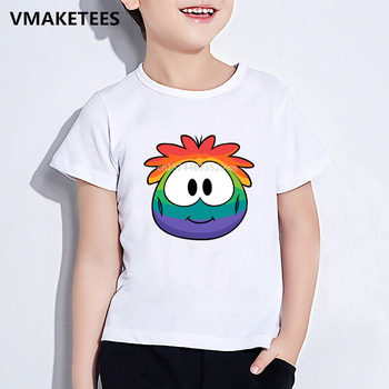 Girls & Boys Summer Short Sleeve T shirt Kids KC22 Club Penguin Rainbow Puffle Cartoon Print T-shirt Funny Baby Clothes,HKP5256 image