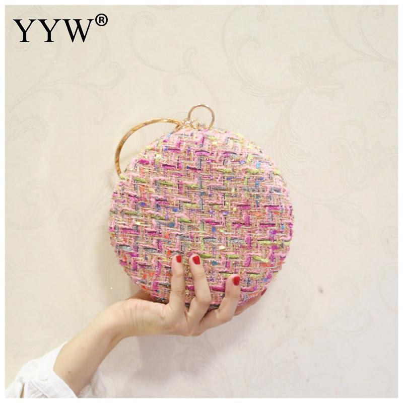 Plaid Fabric Round Handbag Clutch With Rhinestone Handle Wedding Bridal Party Hand Bag 2019 Pink Evening Top New
