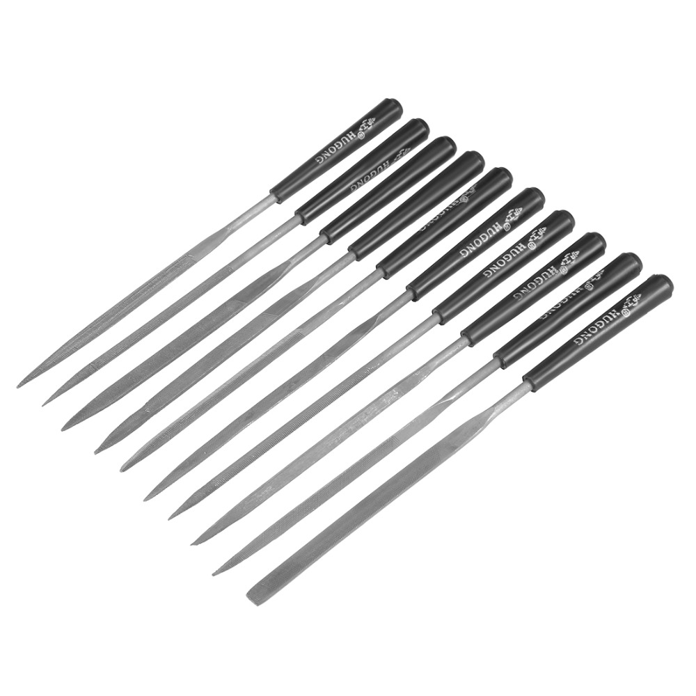UXCELL 10PCS Gray, Black 3mm x 140mm Smooth Cut Steel Needle File Set , use to Shape Steel, Glass, Tile,  Metal Glass Stone