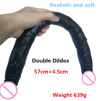 Big Realistic Double Dildo Flexible Soft Silicone Huge Dual dong anal dildo For Lesbian Fake dick Penis adult Sex toys for Women faak skin color realistic dildo soft silicone penis suction sex toys for women adult products big dick lesbian couple flirting