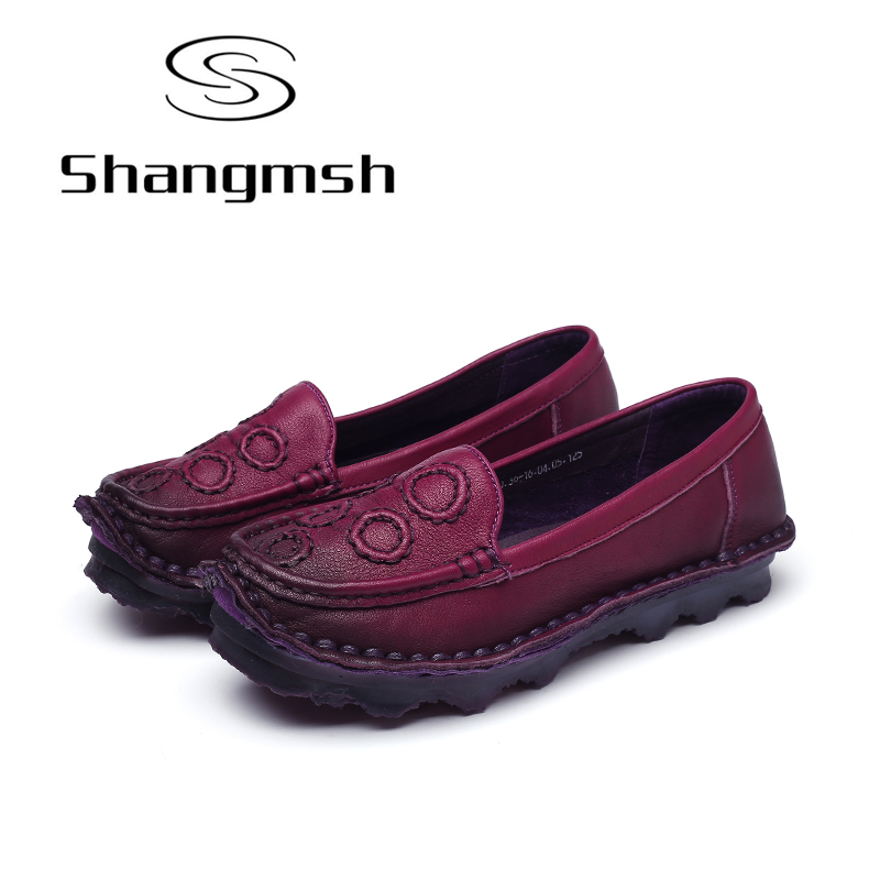 Shangmsh Female slip Summer women shoes Genuine leather Oxford Handmade Casual Driving Loafers Moccasins Shoes woman plus size 2017 spring summer women flat shoes woman slip on loafers women s fashion leather shoes moccasins female footwear plus size 41