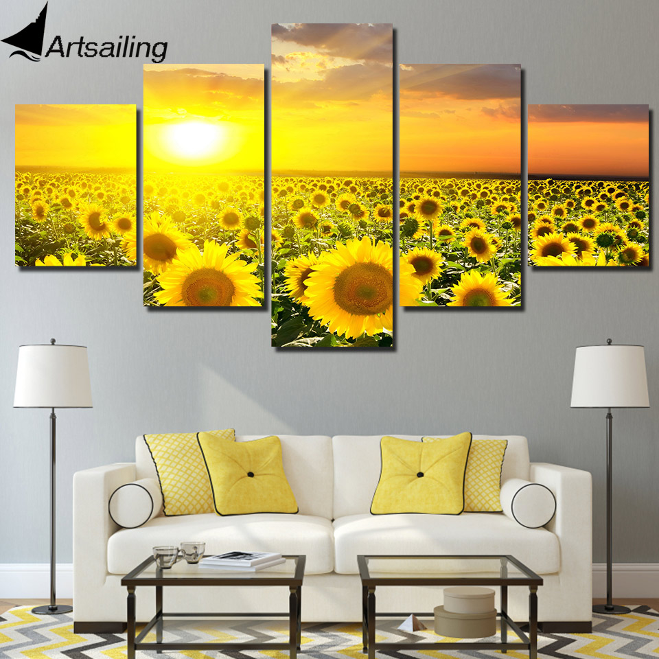 HD Printed 5 Piece Canvas Prints Sunflower Sunset Canvas Painting Golden Flower Field Wall Pictures for Living Room Home Decor