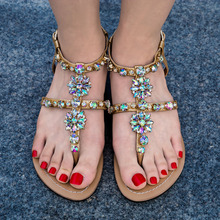 Bohemia diamond sandals T-strap thong flip flops comfortable