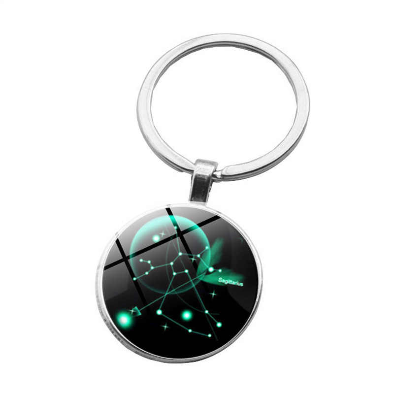 Mười hai Chòm Sao Key Chain Vòng Leo Keychain Màu Xanh Trăng Sao Sư Tử Biểu Tượng Đồ Trang Sức Glass Dome Hoàng Đạo Mề Đay Mặt Dây Chuyền Đồ Trang Sức