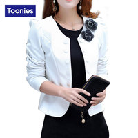 2016 Autumn Long Sleeve Double Breasted Blazer Suit Womens Coat Short Back Bow Blazers Flower Appliques