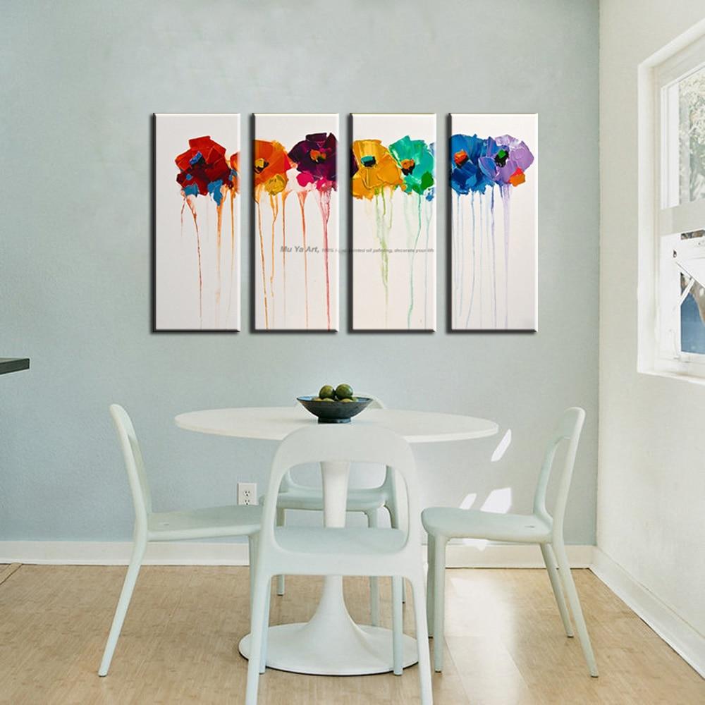 Muya Peint à La Main à L Huile Sur Toile Fleur Peinture Mur