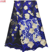 U Life High Quality 100 Polyester Mesh African French Lace With Gold Sequins Newest Netting For