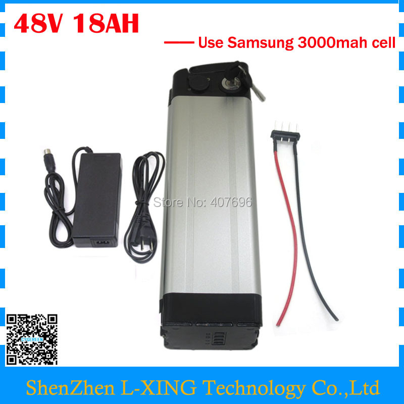 Free customs duty 750W 18ah 48V silver fish Battery electric bike 48V 18AH use Samsung 3000mah cell 20A BMS 2A Charger free customs duty 1000w 48v battery pack 48v 24ah lithium battery 48v ebike battery with 30a bms use samsung 3000mah cell