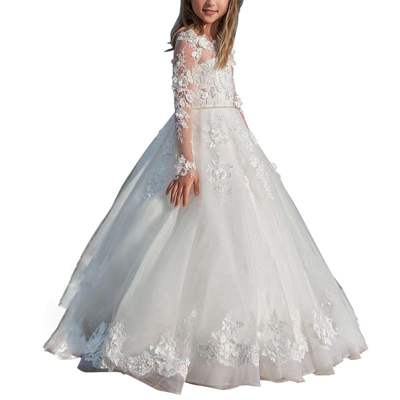 Elegant Lace   Flower     Girl     Dresses   for Weddings Long Sleeves First Holy Communion   Dresses   Little Bride White Kids Ball Gowns   Girls