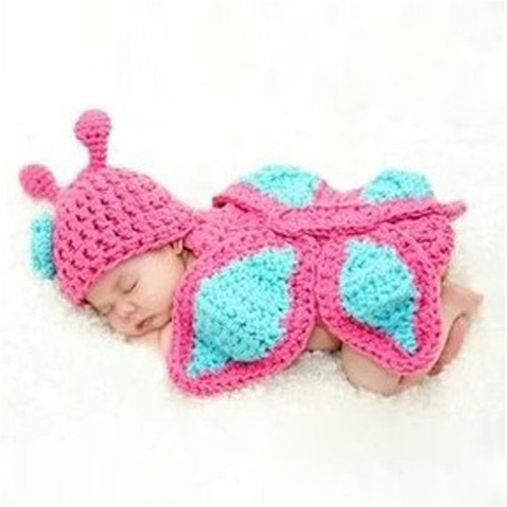 New Baby Infant Butterfly Crochet Knitted Costume Soft Adorable Clothes Photo Photography Props for new born baby products