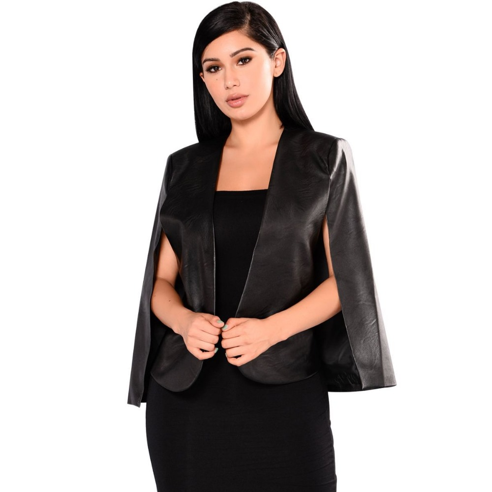 2018 Fashion Formal Solid Sexy Outerwear full pu style Black Woman PU   Leather   Jackets European Style Batwing Sleeve Colak Slim