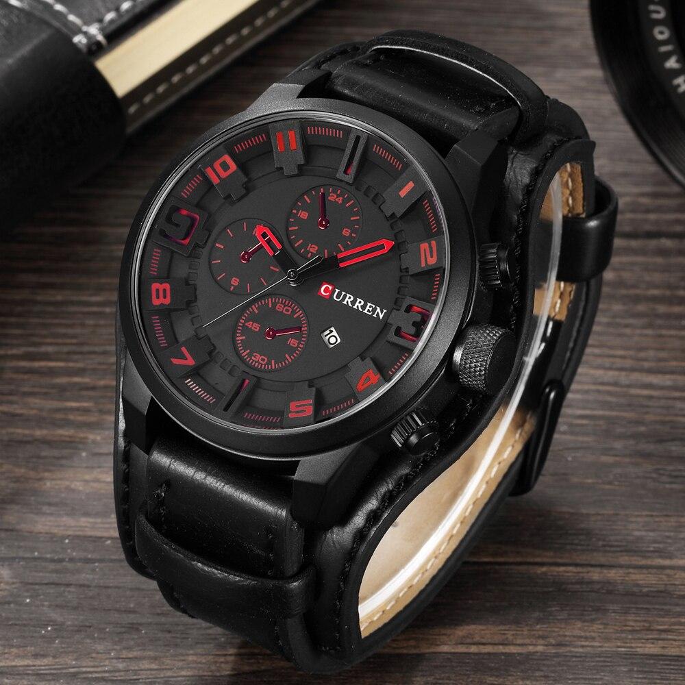 Curren hombres de lujo Relojes de cuarzo hombres deportes reloj de cuarzo correa de cuero Militar reloj masculino moda nuevo regalo de la venta