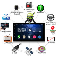 Android 6.0 Car Radio Stereo 2 DIN wifi bluetooth 7 Touch Screen 2Din 1024*600 GPS Navigation MP4 MP5 DVD Car Audio Player