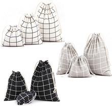 Fashion White Gray Black Natural Linen Drawstring Wedding Favor Bags Pouch Lattice Shape Wedding Gift Bags Jewelry Bag(China)