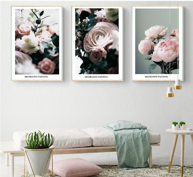 Modern Small Fresh Rose Flower Decorative Painting Modular Picture ...