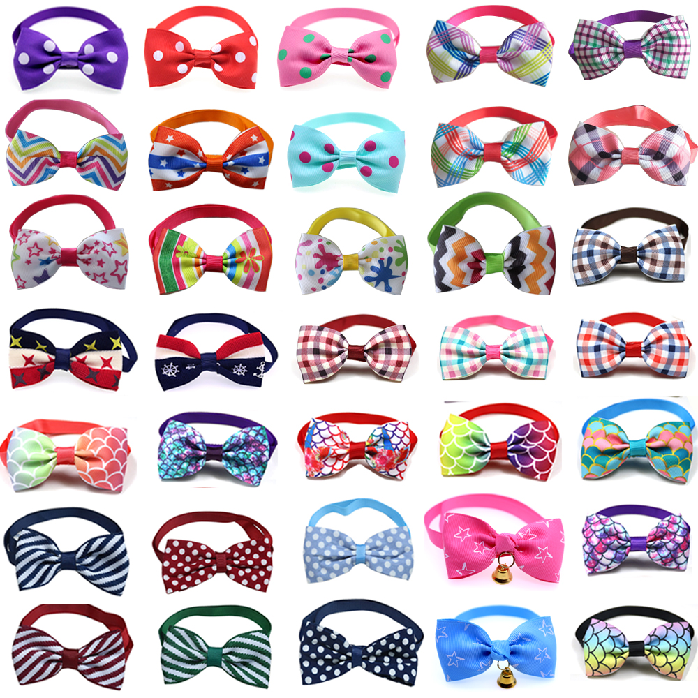 Wholesale 100pcs Pet Dog Cat Bowties Collar Pet Bows Puppy Cat Ties Bow Tie Neckties Samll -dog Pet Cat Grooming Supplies