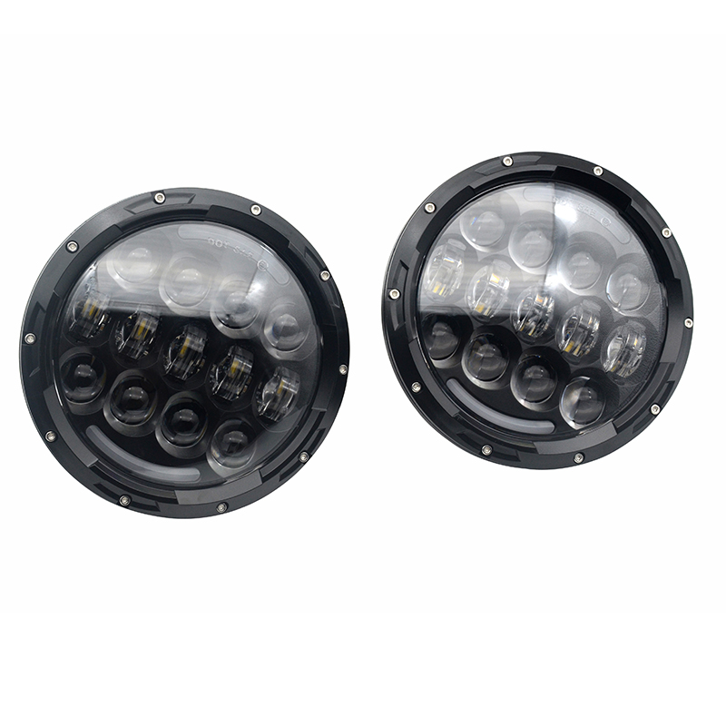 2016 Newest 105W LED High/Low Beam H4 Headlight Round 7inch Motorcycle headlight with Angel eyes for Jeep Wrangler JK Hummer 1pair 7inch led headlight high low beam yellow truning signal for jeep wrangler with angel eyes