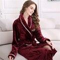 Plus Size Inverno Robe de Flanela das Mulheres Vinho Tinto Longos Roupões De Banho Roupão de Banho Das Senhoras Sleepwear Real Camisola L XL XXL WQL001_1353