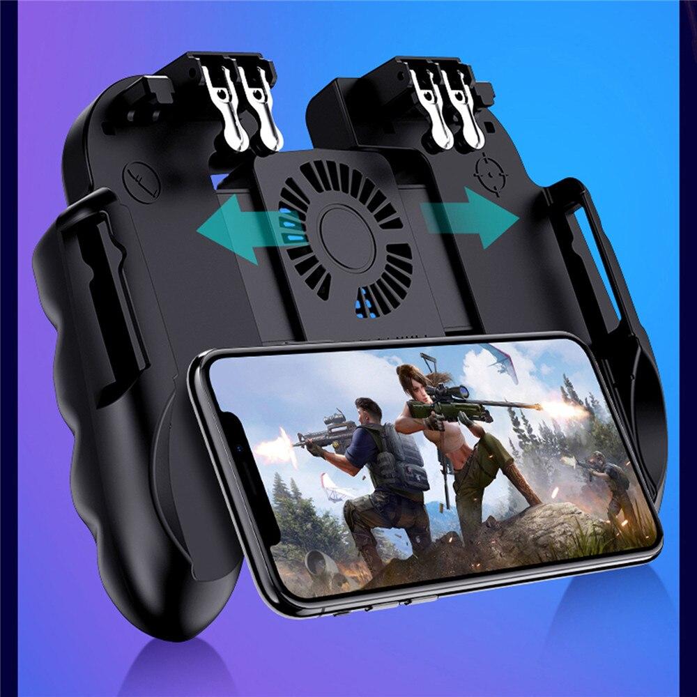 Pubg controlador móvel gamepad com ventilador de refrigeração mais frio para ios android para samsung galaxy l2r2 joystick sem bateria plug and play