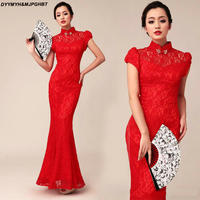 2018 Chinese Style Fashion Prom Dresses Lace Long Paragraph Design Mermaid High Collar Red Cheongsam