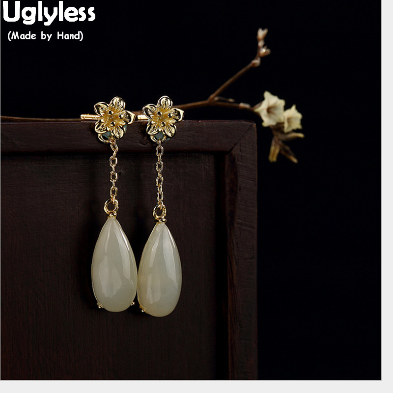 Uglyless Blossom Earrings Jade 925-Sterling-Silver White Natural Women for Brincos 100%Real