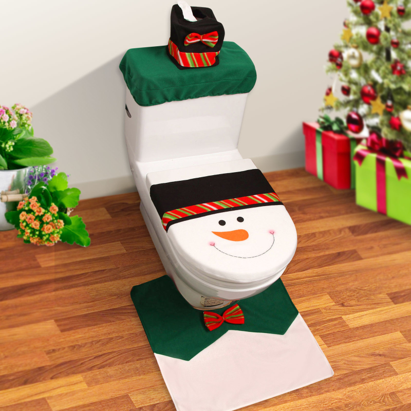 Snowman Toilet Seat Cover Rug Bathroom Set The Happy Santa Christmas Decorations