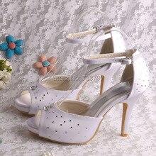Peep Toe Белый Кристалл Алмаза Свадебные Сандалии Свадебные Женщины Туфли На Платформе
