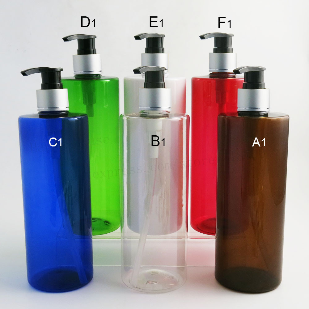 24 x 500ml Amber Blue Green Red White Clear Shampoo Plastic Lotion Pump Cream Bottles 500cc