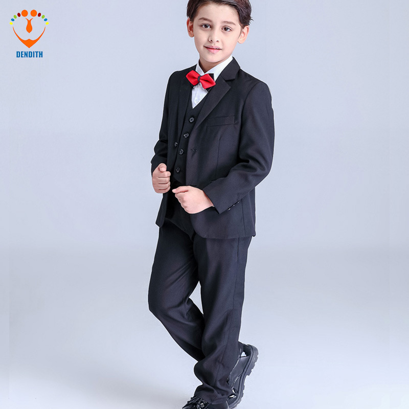 5 Pcs/Set new Fashion  Boy Suit For Wedding party Black blue Dresses for Wedding Boy Suits formal new fashion boy